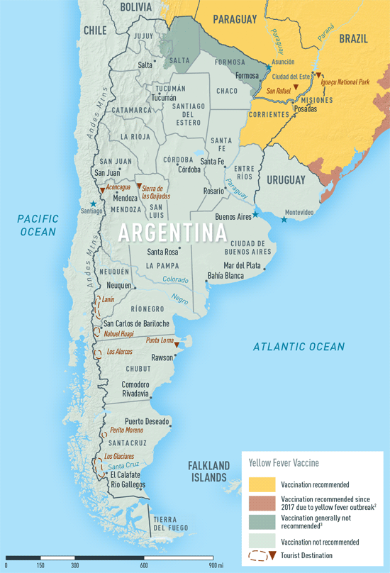 Map 3-16. Yellow fever vaccine recommendations in Argentina