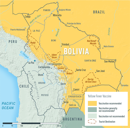Map 3-17. Yellow fever vaccine recommendations in Bolivia