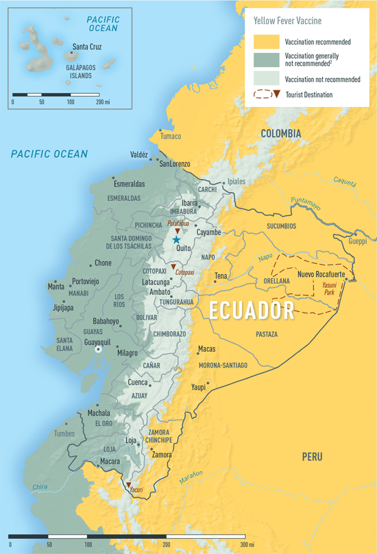Map 3-25. Yellow fever vaccine recommendations in Ecuador