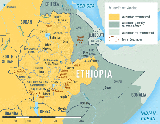 Map 3-27. Yellow fever vaccine recommendations in Ethiopia