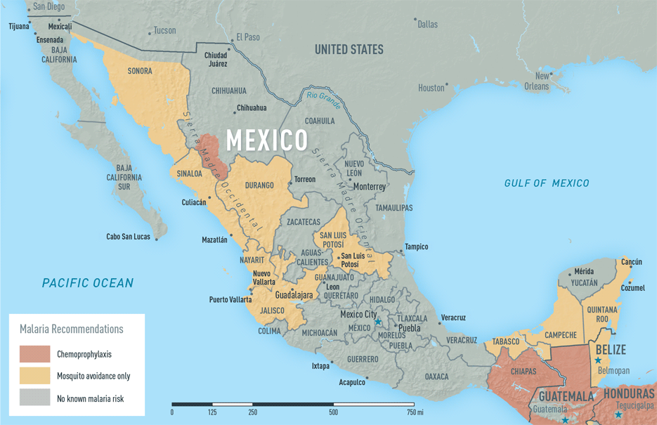 Map 3-32. Malaria in Mexico