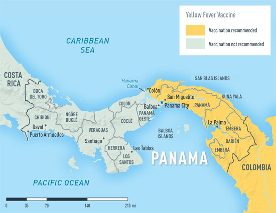 Map 3-34. Yellow fever vaccine recommendations in Panama