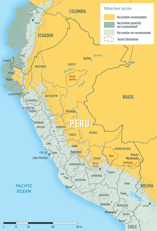 Map 3-36. Yellow fever vaccine recommendations in Peru
