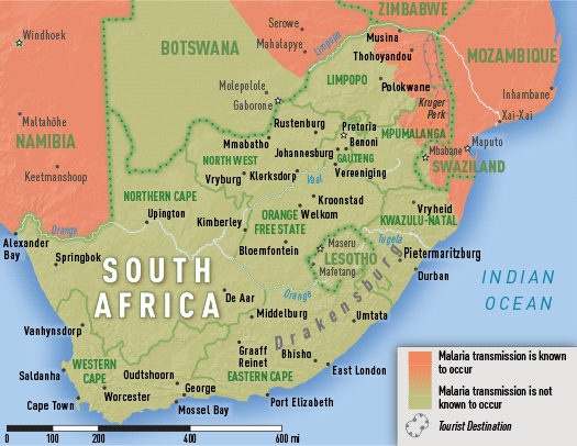 Map 3-41. Malaria transmission areas in South Africa
