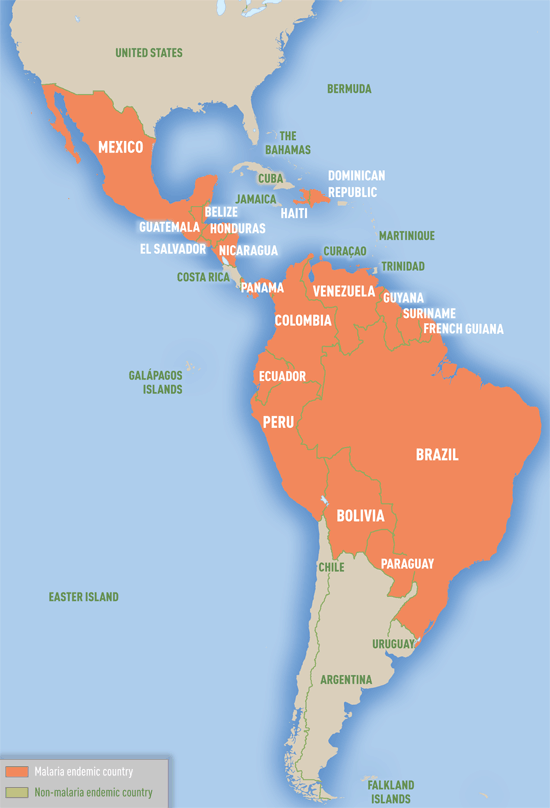 Map 3-09. Malaria-endemic countries in the Western Hemisphere