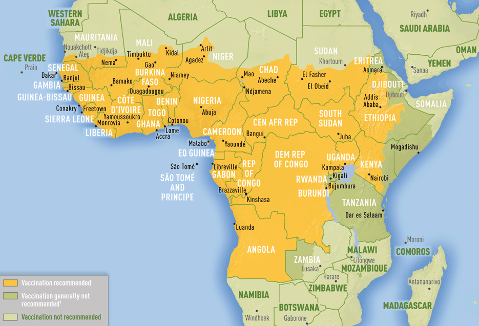 Map 3-15. Yellow fever vaccine recommendations in Africa