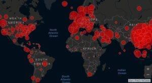 mappa di diffusione del COVID-19 nel mondo 2020
